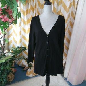 Chicos Size 3 Ladies Black Rayon Knit Cardigan